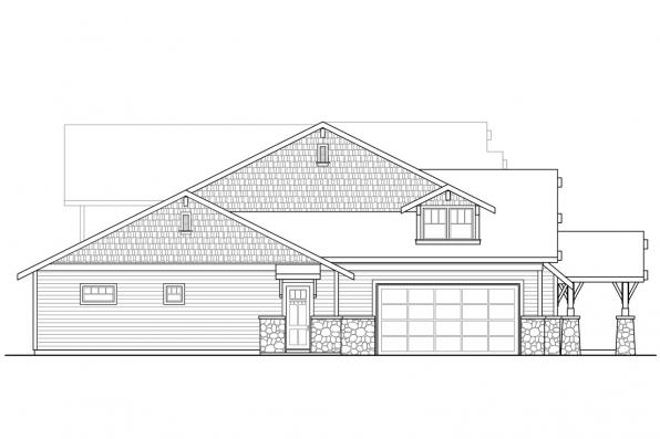 Lodge Style House Plan - Breckenridge 30-483 - Right Elevation