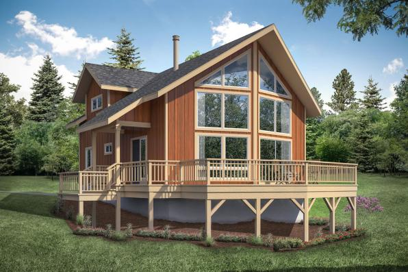 A-Frame House Plan Timber Hill 31-122 - Front Exterior