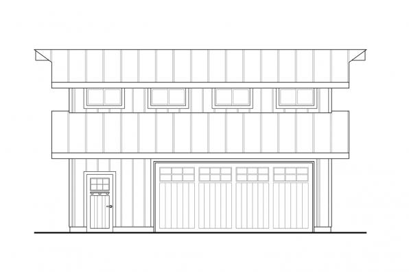 2 Car Garage Plan 20-261 - Left Elevation