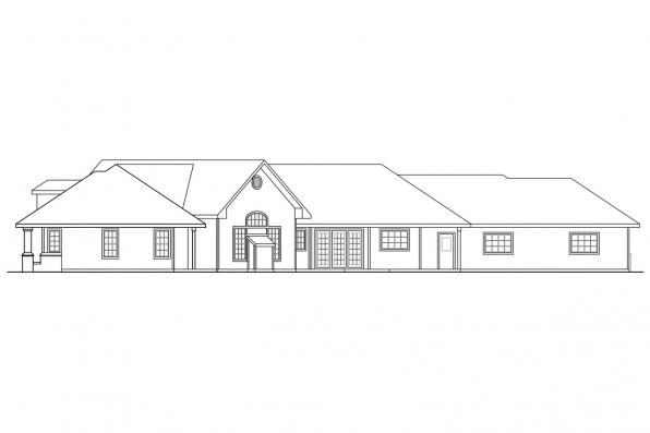 Luxury House Plan - Hawthorne 30-054 - Rear Elevation