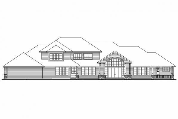 Luxury House Plan - Monticello 30-734 - Rear Elevation