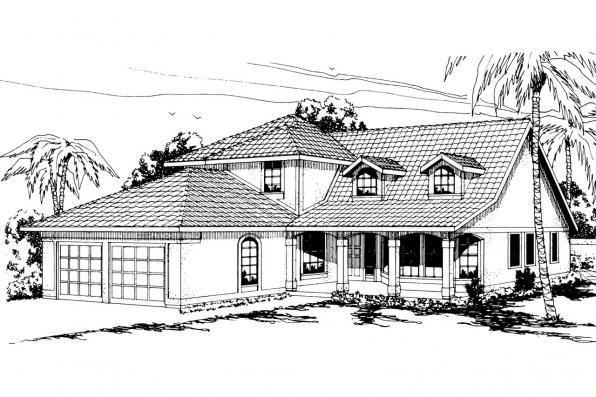 Mediterranean House Plan - Merida 11-009 - Front Elevation