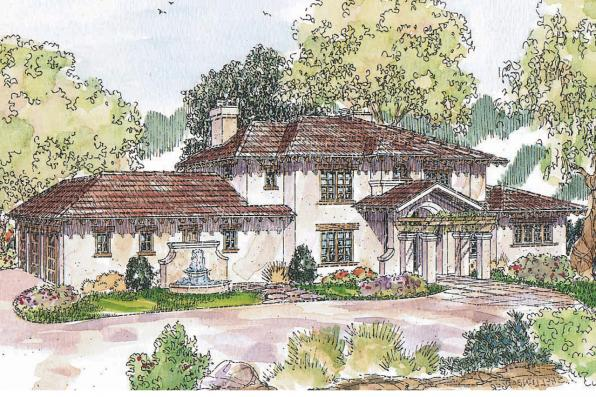 Mediterranean House Plan - Vercelli 30-491 - Front Elevation