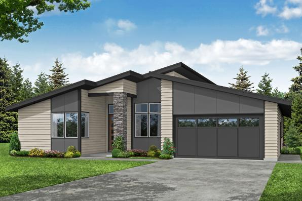 Modern House Plan - Nisqually 31-191 - Front Elevation
