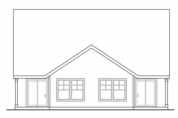 Narrow Lot House Plan - Braydon 60-012 - Rear Elevation