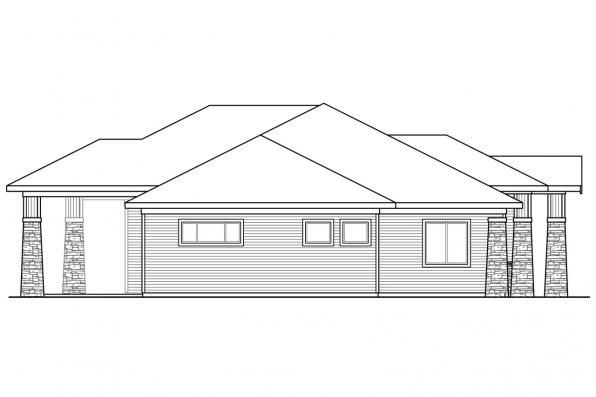 One Story House Plan - Heartlodge 10-640 - Right Elevation