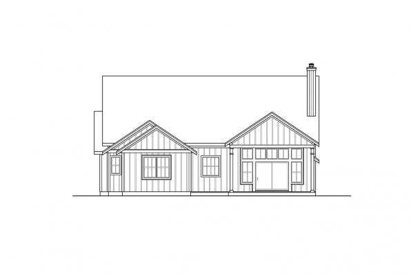 One Story House Plan - Whiskey Creek 31-143 - Rear Elevation