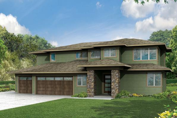 Prairie Style House Plan - Brookhill 30-963 - Front Elevation