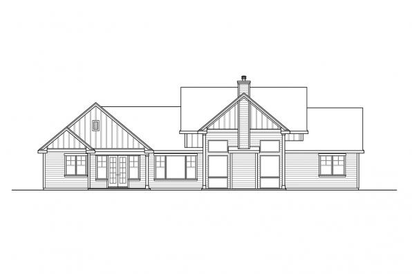 Contemporary House Plan - Boulderfield 31-147 - Rear Elevation