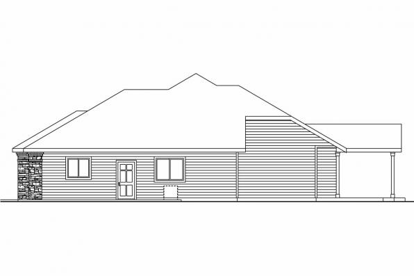 Ranch House Plan - Creekstone 30-708 - Left Elevation