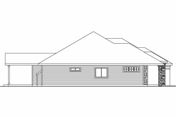 Ranch House Plan - Creekstone 30-708 - Right Elevation