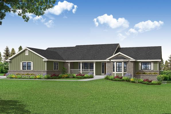 Ranch House Plan - Hatford 10-632 - Front Elevation