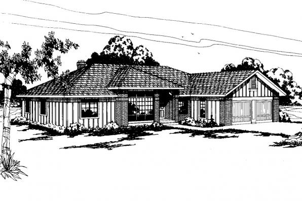 Ranch House Plan - Jefferson 10-056 - Front Elevation