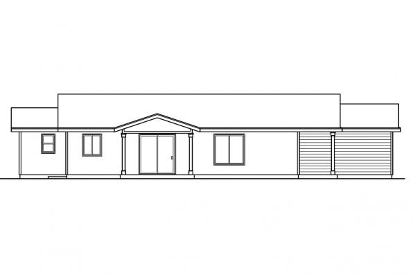 Ranch House Plan - Lindley 30-546 - Right Elevation
