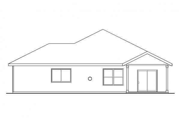 Ranch House Plan - Logan 30-720 - Rear Elevation