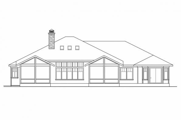 Ranch House Plan - Metolious 30-746 - Rear Elevation