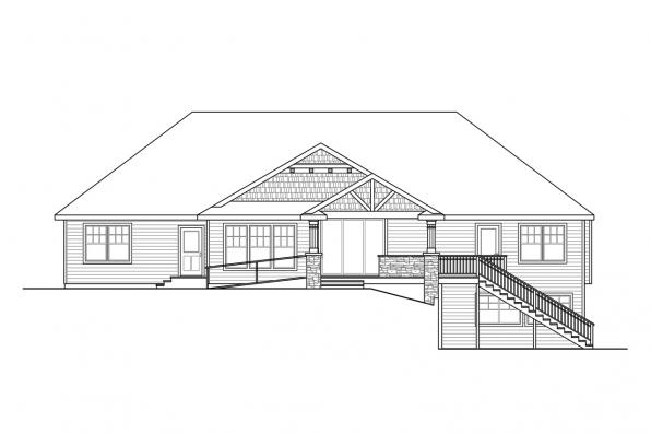 Ranch House Plan - Mossy Point 30-900 - Rear Elevation