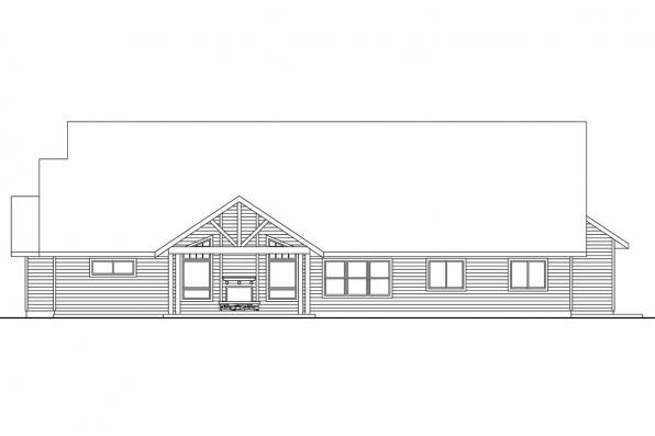 Ranch House Plan - Oakley 30-691 - Rear Elevation