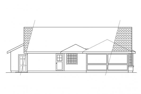 Ranch House Plan - Quincy 11-017 - Rear Elevation
