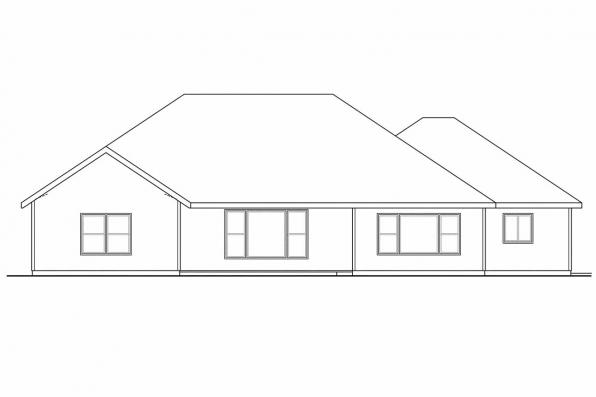 Ranch House Plan - River Grove 30-762 - Rear Elevation