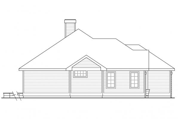 Ranch House Plan - Stayton 10-040 - Right  Elevation
