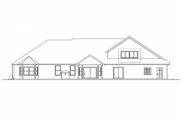 Ranch House Plan - Wellesley 30-494 - Rear Elevation