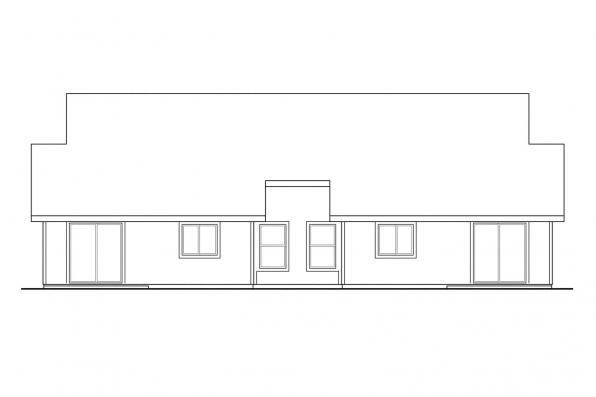 Ranch House Plan - Wynant 60-024 - Rear Elevation