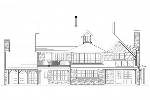 Shingle Style House Plan - Petersfield 30-542 - Rear Elevation