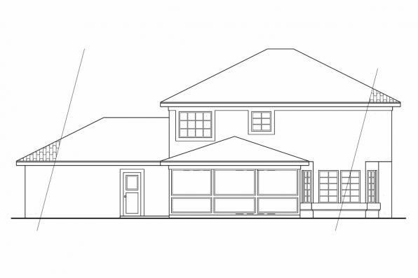 Small House Plan - Houston 11-044 - Rear Elevation