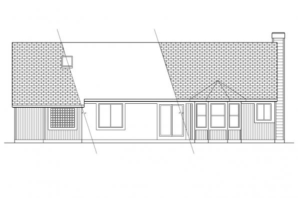 Small House Plan - Laramie 30-010 - Rear Elevation