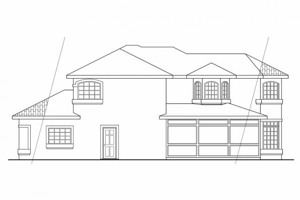 Spanish Style House Plan - Bellaire 11-050 - Left Elevation