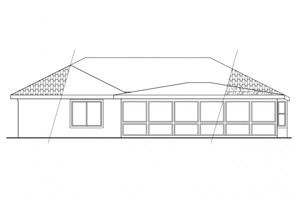 Spanish Style House Plan - Camille 11-031 - Rear Elevation