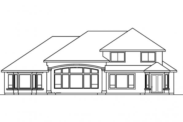 Spanish House Plan - Corsica 30-443 - Rear Elevation