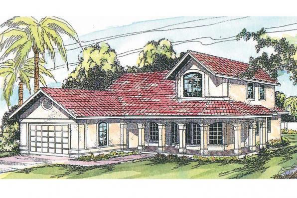 Spanish Style House Plan - Kendall 11-092 - Front Elevation