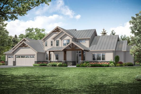 Lodge Style Home Plan - Eatonville 31-165 - Front Exterior