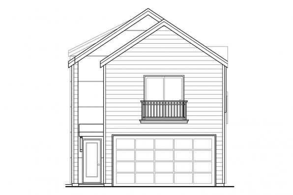 Townhouse Plan - Stinson 30-891 - Rear Elevation