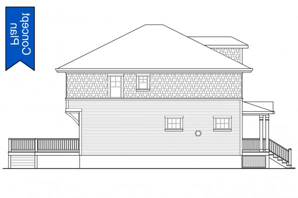 Traditional Concept House Plan - Ithaca 31-102 - Right Elevation