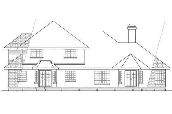 Traditional Home Plan - Compton 10-019 - Rear Elevation