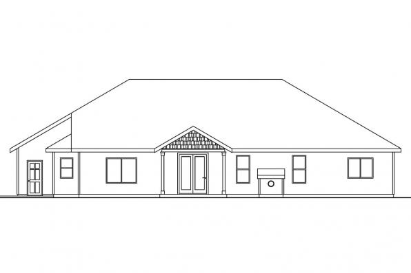Traditional House Plan - Goldendale 30-540 - Rear Elevation