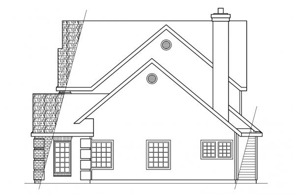Traditional House Plan - Greenville 30-028 - Left Elevation