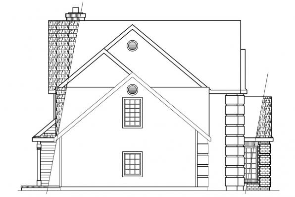 Traditional House Plan - Greenville 30-028 - Right Elevation