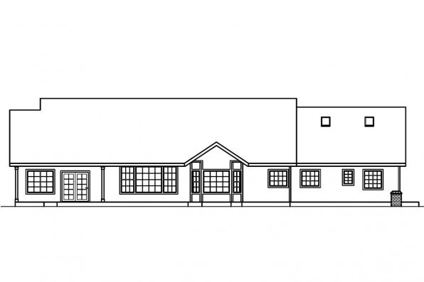 Traditional House Plan - Hillrose 30-269 - Rear Elevation