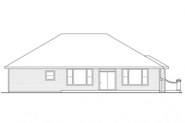 Traditional House Plan - Lewiston 30-053 - Rear Elevation