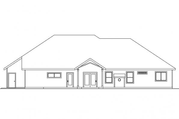 Traditional House Plan - Pleasanton 30-545 - Rear Elevation
