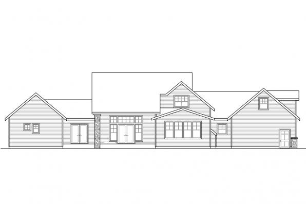 Traditional House Plan - Pronghorn 30-917 - Rear Elevation