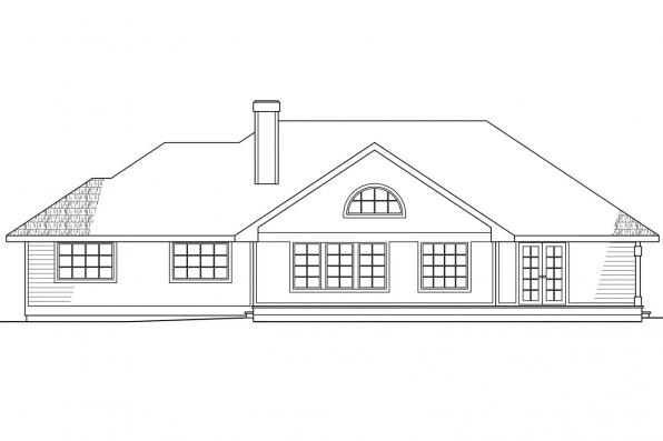 Traditional House Plan - Raleigh 10-002 - Rear Elevation