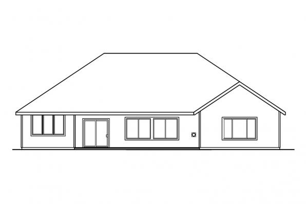 Traditional House Plan - Ryland 30-336 - Rear Elevation