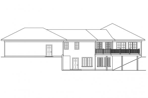 Traditional House Plan - Treyburn 10-497 - Left Elevation