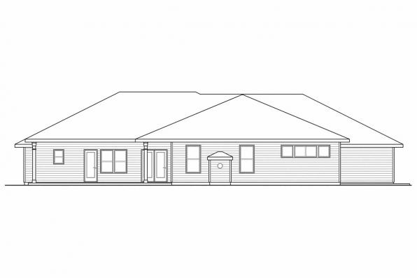 Traditional House Plan - West Creek 30-781 - Rear Elevation
