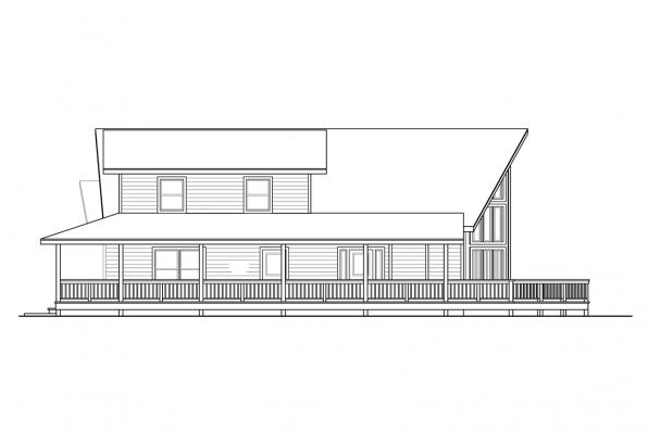 Vacation House Plan - Logsden 31-075 - Left Elevation